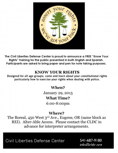 Know Your Rights Training on Jan 29th