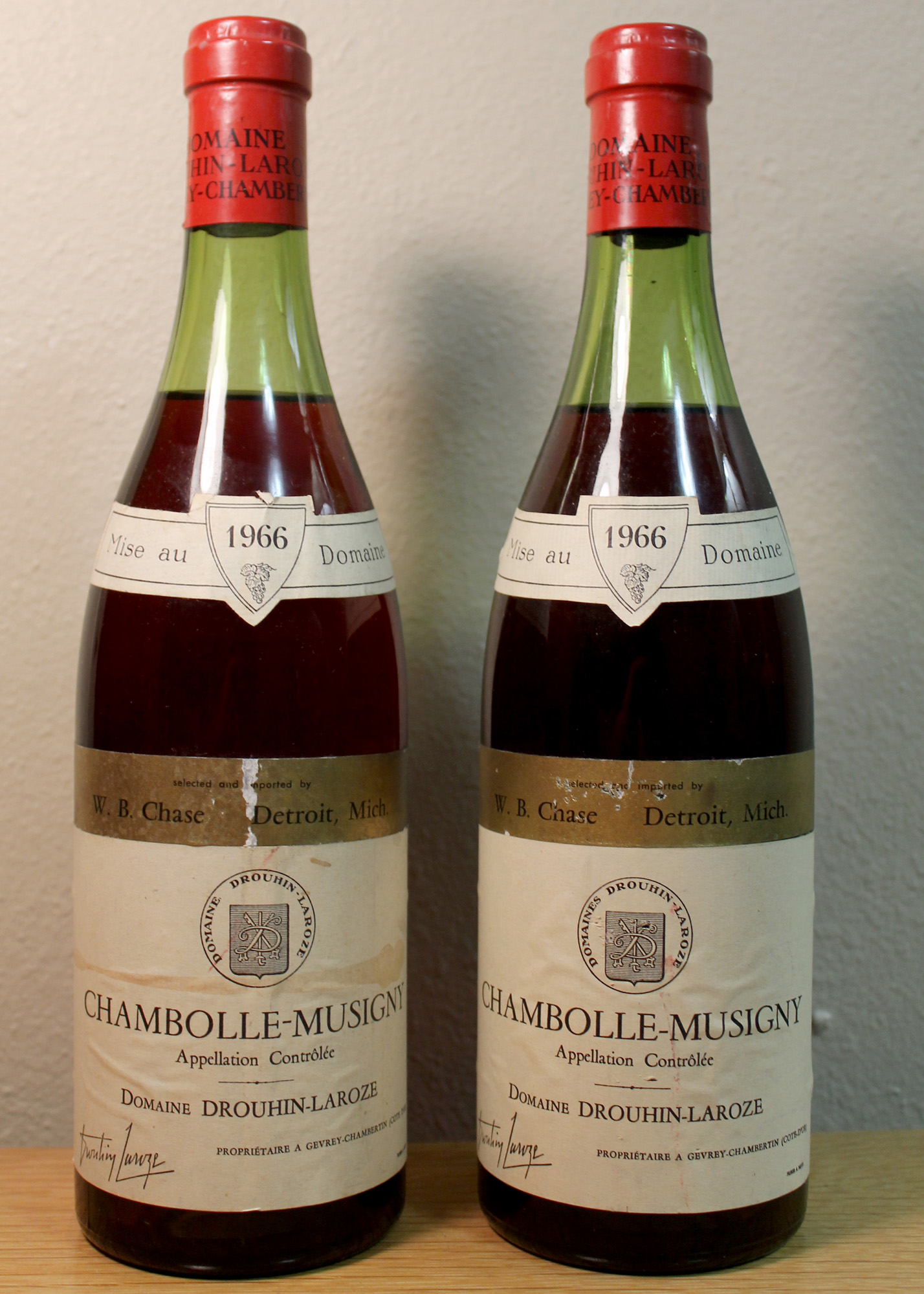 Burgundy: Chambolle-Musigny (1966). Produced by Drouhin-Laroze and imported by Cruse/J. Garneau.