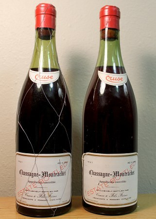 Burgundy: Chassagne-Montrachet (Estate) (1961). Produced by Cruse & Fils and imported by Cruse/J. Garneau.