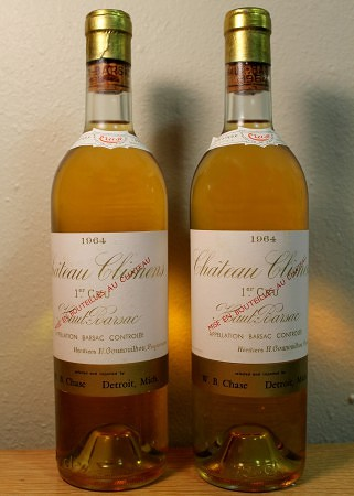 White Bordeaux: Climens (1964). Imported by W.B. Chase & Cruse/J. Garneau.