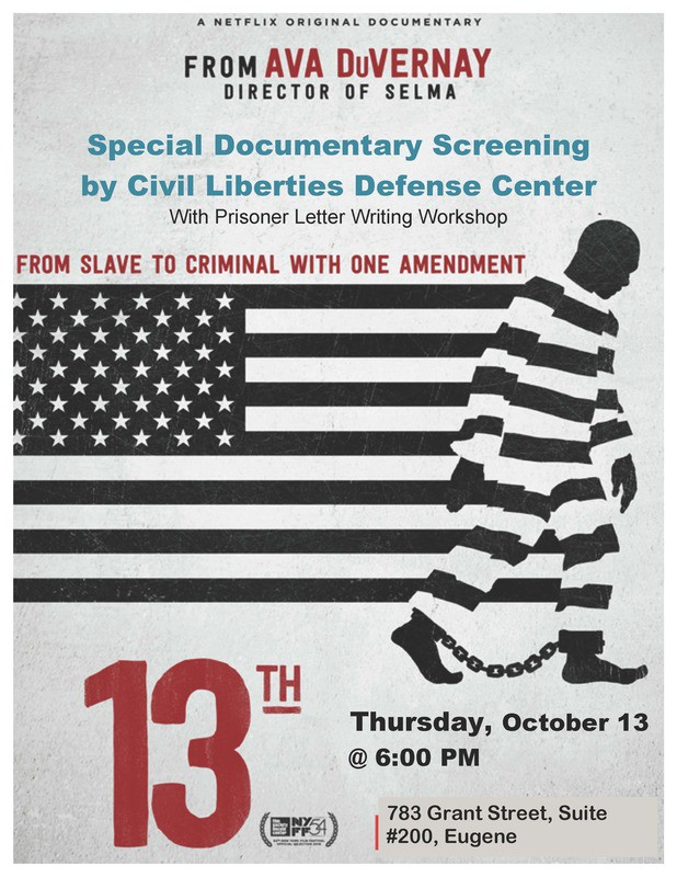 13th movie screening poster civil liberties defense center