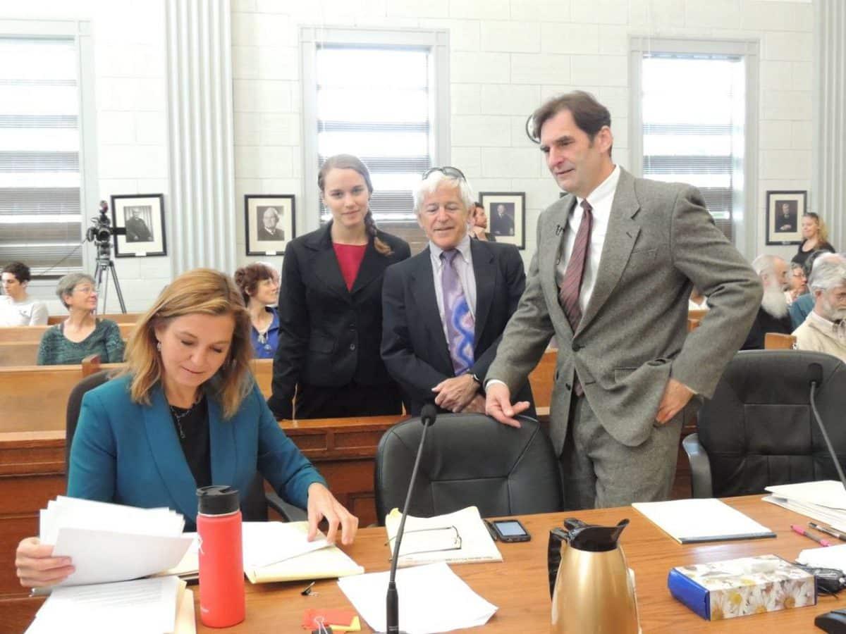 Lauren Regan at trial defending Ken Ward.