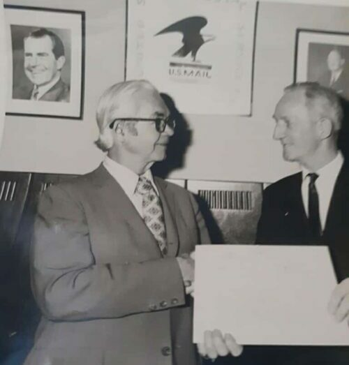 My grandfather, George Janes (right), proud postal worker and WWII veteran