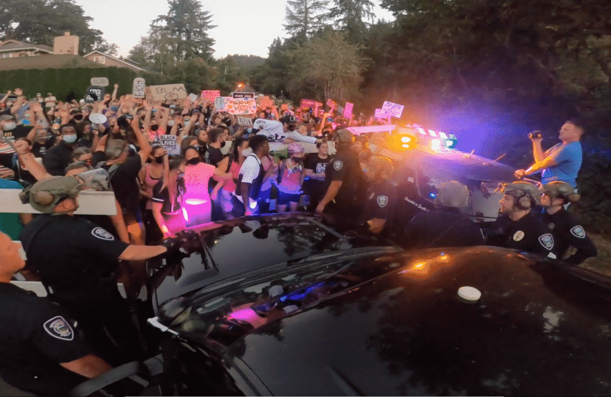 Screenshot from Springfield Police Footage of Black Unity protest in July 2020
