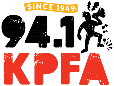 """94.1 KPFA logo. """"since 1949"""" in yellow banner above words 94.1 KPFA and a silhouette of a person with a bullhorn"""